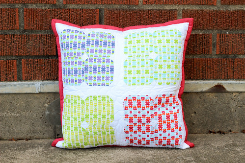 Color Me Retro Square Flower Pillow by Jeni Baker