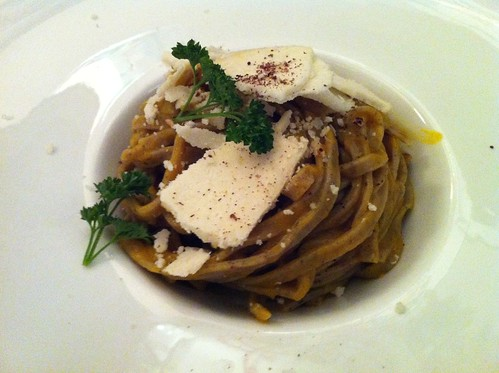 Buckweat tagliatelle with pumpkin and  mountain cheese
