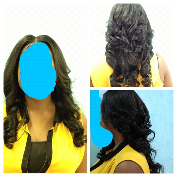 relaxed to hair styles 16 inch sew in styles with middle part 16 inch sew in 8342