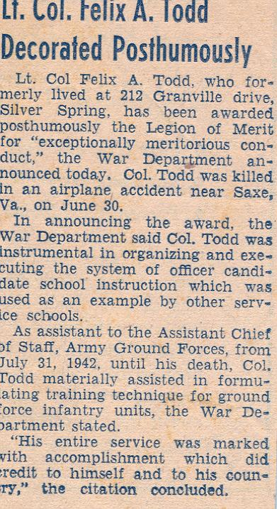 Lt. Col. Felix Alex Todd, Jr.  newspaper clipping