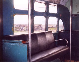 Interior view inside a preserved Chicago Transit Authority 1951 Marmon Harrington electric trolley bus.  The Illinois Railway Museum.  Union Illinois. May 1999. by Eddie from Chicago