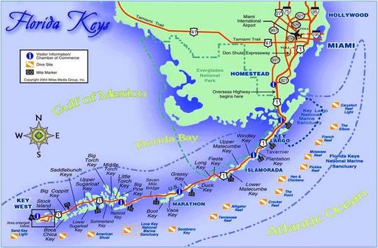Mapa de la carretera de los Cayos de Florida (Estados Unidos)