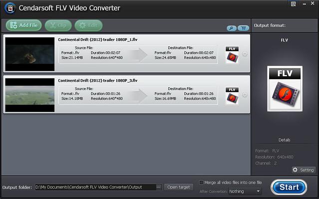 Click to view Cendarsoft FLV Video Converter 5.8.2 screenshot