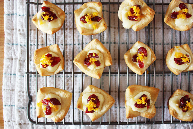 cranberry orange cream cheese tartlets.