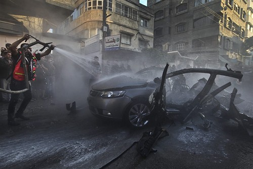 Vehicle destroyed during the targeted assassination of Ahmed Jabari, the military commander of Hamas in Gaza. The Palestinians are under constant attack by the Israeli settler regime. by Pan-African News Wire File Photos