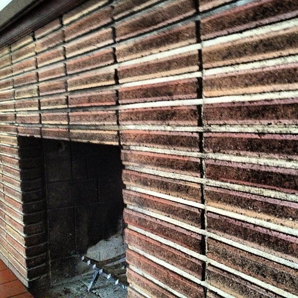 1950 39 S Roman Brick Mantel Fireplace Patina Texture