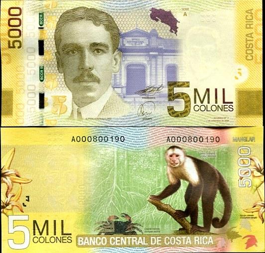 5000 Colones Kostarika 2012