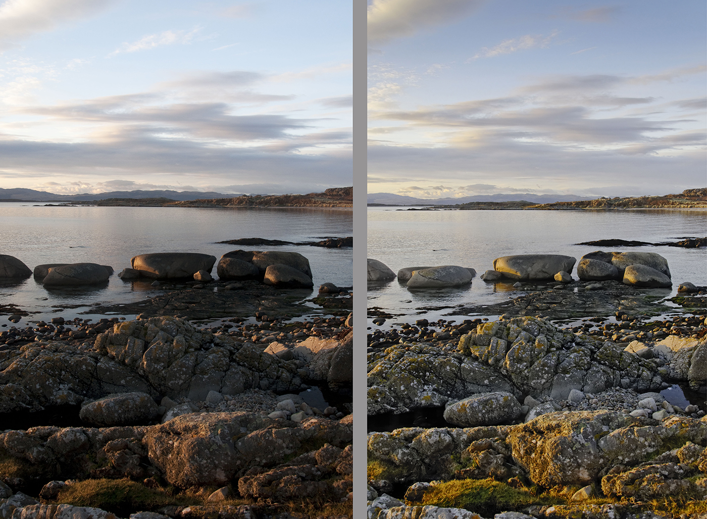 Kilmory beach to the Paps of Jura near sunset