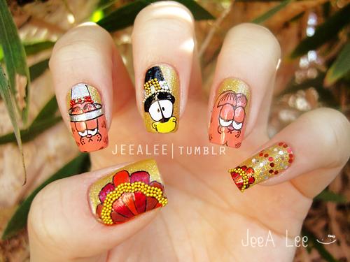 jeealee: Garfield Thanksgiving Nails