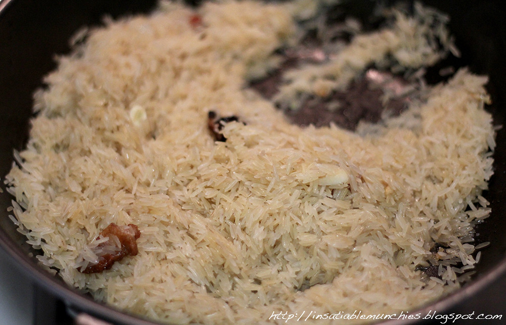 Frying the rice off in chicken fat