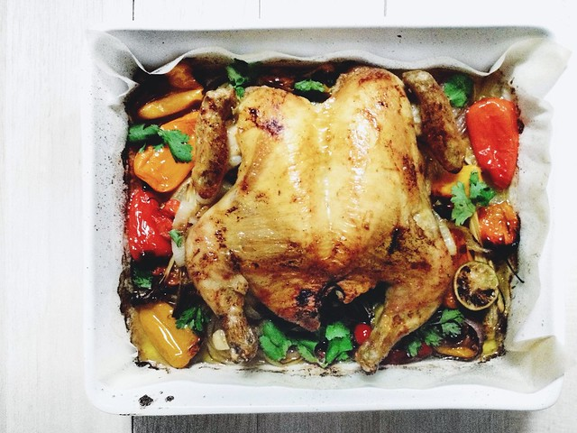 Spicy Flat Roasted Chicken with Sweet Peppers