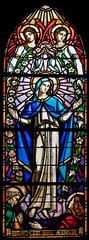 vitrail de l'église St Blaise/St Martin à Chaudes Aigues.