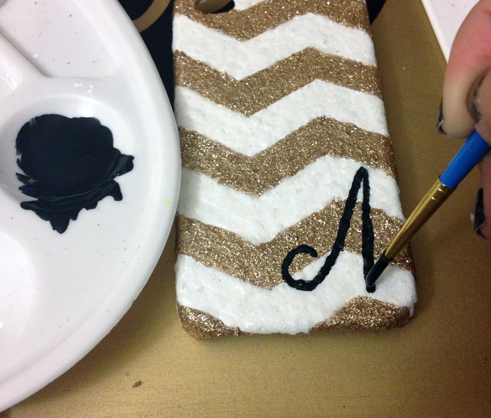 phone case makeover - hand painted initial