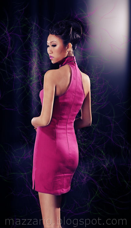 pink denim mini cheongsam -back