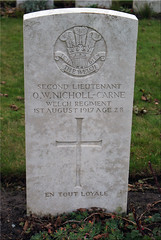O.W. Nicholl-Carne, Welch Regiment, 1917, War Grave, Oosttaverne Wood