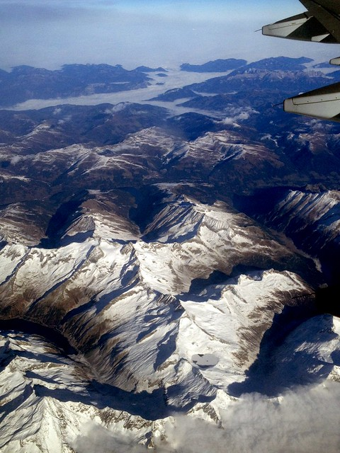Aerial view of Swiss Alps and Landscape over Switzerland