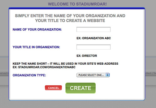 Create Site Pop Up