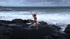 enjoying a lava beach near Hana