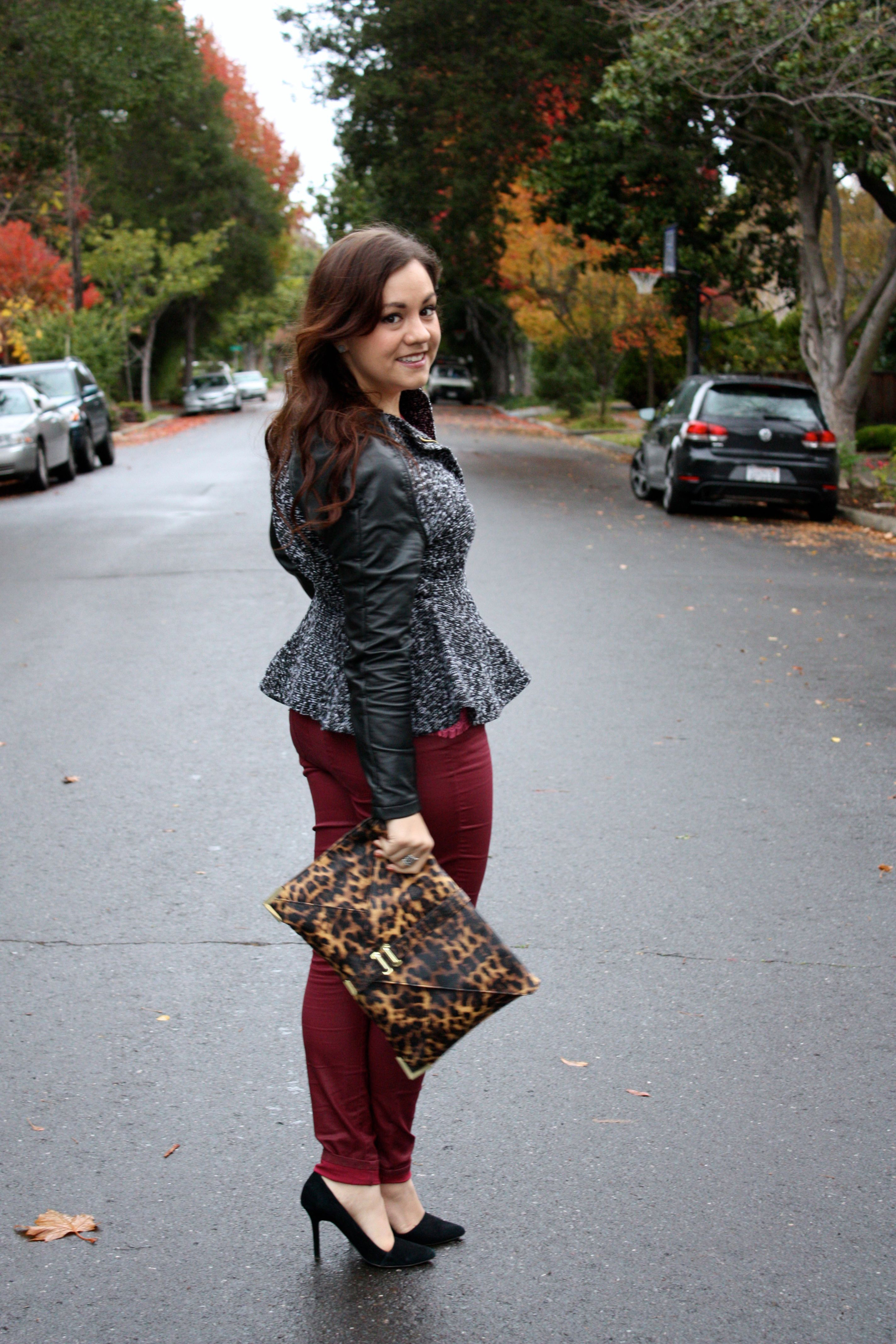 neon lace top - burgundy waxed jeans - tweed and leather peplum jacket - leopard envelope clutch05