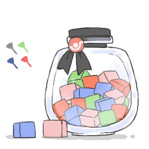 藍-澀味的能量方塊(美麗上升)//綠-苦味的能量方塊(聰明上升)//黑-甜味的能量方塊(可愛上升)(7/12/2012)