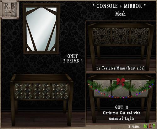 RnB Dark Cedar Console + Mirror - 12 Textures (Mesh) v2