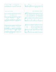 landscape A2 card size JPG Christmas Sheet Music WHITE & TURQUOISE Vintage GF LARGE SCALE
