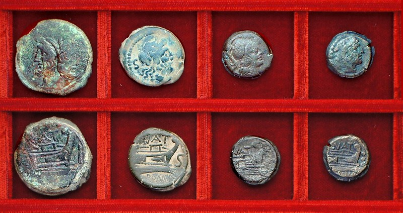 RRC 200 NAT Pinaria bronzes, Ahala collection, coins of the Roman Republic