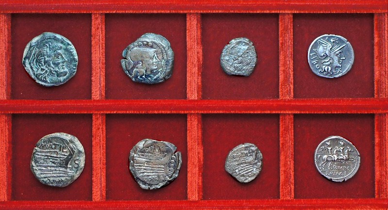 RRC 214 M.ATIL SARAN Atilia bronzes, RRC 215 Q.MARC LIBO Marcia denarius, Ahala collection, coins of the Roman Republic