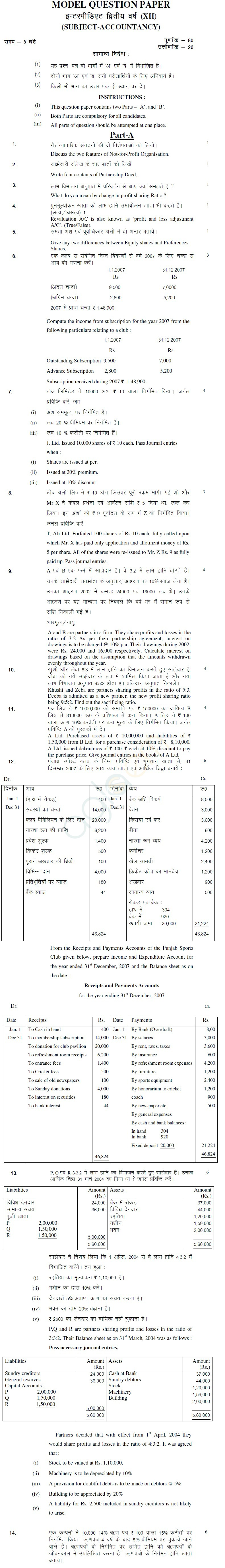 Jharkhand Board Class XII Sample Papers – ACCOUNTANCY