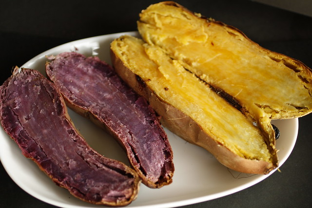 purple and yellow sweet potatoes