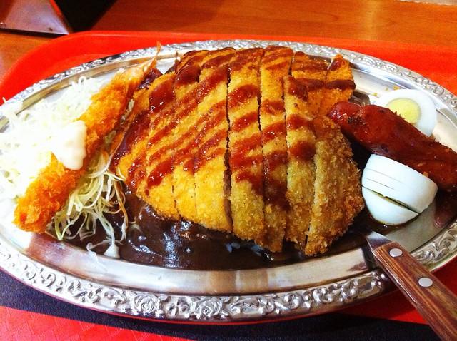 chicken katsu, pork katsu, shrimp, sausage, egg