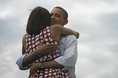 Obama Hugs Wife