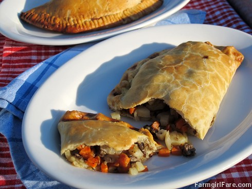 Classic English Cornish Pasties with beef, onion, potatoes, and carrots - FarmgirlFare.com