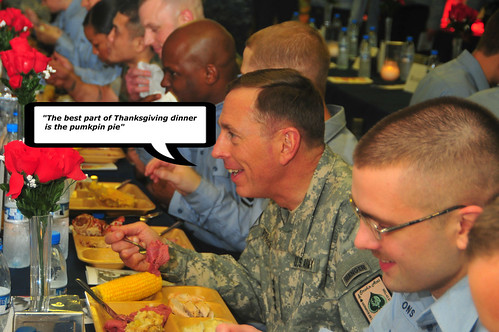 General Petraeus enjoying Thanksgiving Dinner with the Troops.