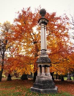 Ornate Cemetery Monument In Autumn