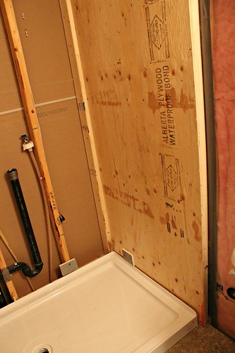 framed out shower wall