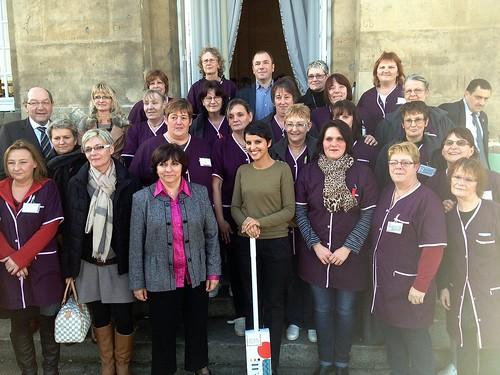 A la mairie de Caen avec les agents d'entretien