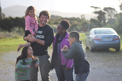 Jacob and Litza with local Maori children at Bruce Bay