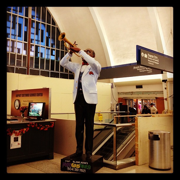 Louis Armstrong welcoming us to his airport! #nola #neworleans