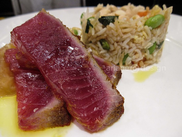 Seared curry Ahi Tuna, chunky apple compote, almond fried rice, fresh kim chee
