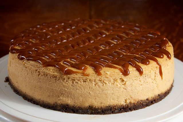 ... pumpkin spice cheesecake topped with bourbon-Grand Marnier caramel