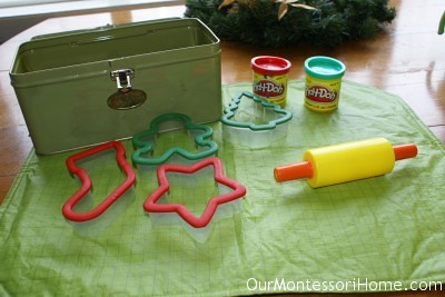 Cookie Cutter Play Dough (Photo from Our Montessori Home)
