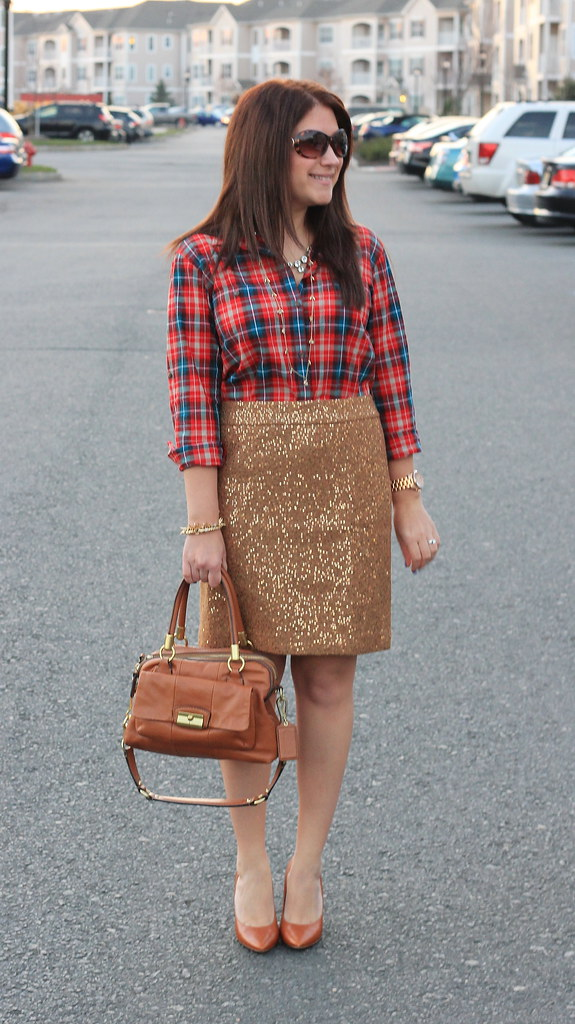 Sequin Skirt and Plaid Blouse Holiday Outfit