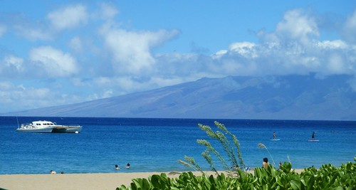 view of Lanai from Maui at Kaanapali Beach