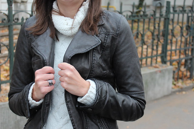 Zara leather jacket and knit sweater