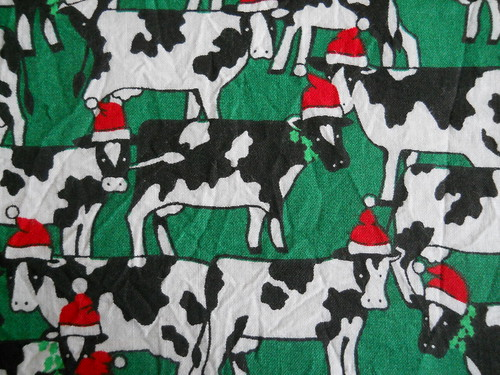 Christmas cow fabric