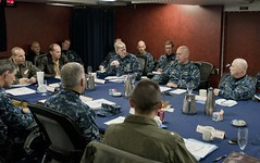 U.S. Navy leaders from headquarters located in Singapore, the Republic of Korea, and Japan meet for a  behavior leadership summit in Yokosuka, Japan, Dec. 1. (U.S. Navy Photo by Mass Communication Specialist 2nd Class Mel Orr)