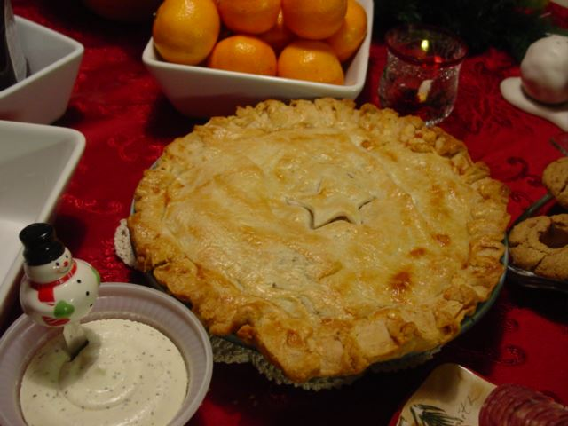 Tourtiere or French Canadian Meat Pie or perhaps Acadian Meat Pie. Usually served on Christmas Eve.