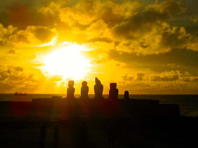 easter island travel, moai at sunset