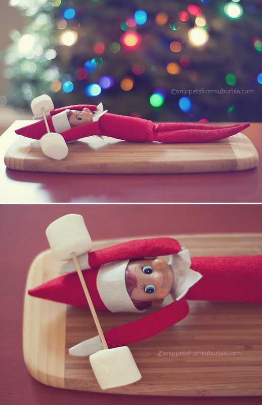Lifting Weights Elf on the Shelf. Click for more ideas! #elfontheshelf